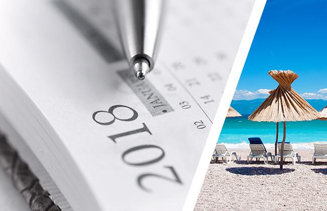 Feiertage 2018 - Urlaubsplanung
