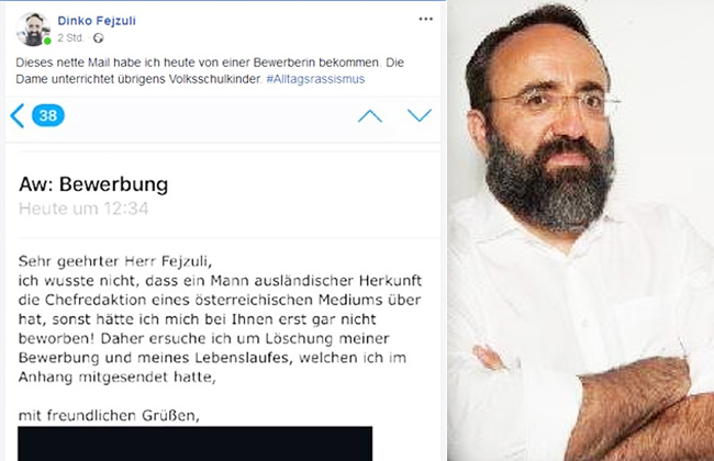 Screenshot Rassismus Bewerbung Journalistin Österreich