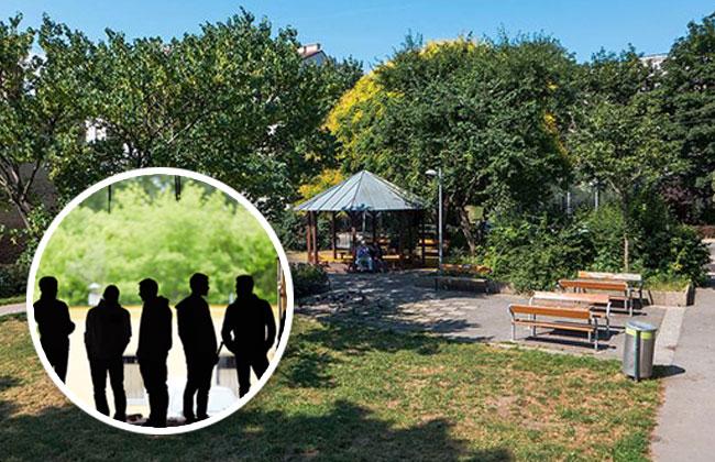 Männerbande im Park
